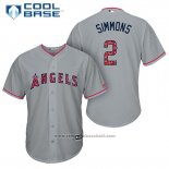 Maglia Baseball Uomo Los Angeles Angels 2017 Stelle e Strisce Andrelton Simmons Grigio Cool Base