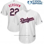 Maglia Baseball Uomo Los Angeles Dodgers 2017 Stelle e Strisce Clayton Kershaw Bianco Cool Base