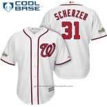 Maglia Baseball Uomo Washington Nationals 2017 Postseason Max Scherzer Bianco Cool Base
