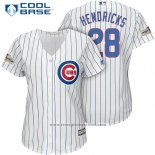 Maglia Baseball Donna Chicago Cubs 2017 Postseason 28 Kyle Hendricks Bianco Cool Base