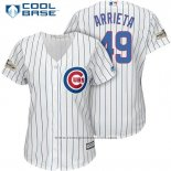 Maglia Baseball Donna Chicago Cubs 2017 Postseason 49 Jake Arrieta Bianco Cool Base