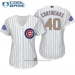 Maglia Baseball Donna Chicago Cubs 40 Willson Contreras Bianco Or Cool Base