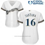 Maglia Baseball Donna Milwaukee Brewers Domingo Santana Bianco Autentico Collection Cool Base