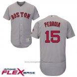 Maglia Baseball Uomo Boston Red Sox 15 Dustin Pedroia Grigio Autentico Collection Flex Base