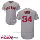 Maglia Baseball Uomo Boston Red Sox 34 David Ortiz Grigio Autentico Collection Flex Base