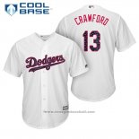 Maglia Baseball Uomo Los Angeles Dodgers 2017 Stelle e Strisce Carl Crawford Bianco Cool Base