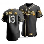 Maglia Baseball Uomo Atlanta Braves Ronald Acuna Jr. Golden Edition Autentico Nero Or