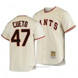Maglia Baseball Uomo San Francisco Giants Johnny Cueto Autentico Cooperstown Collection Primera 1954 Crema