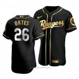 Maglia Baseball Uomo Texas Rangers Johnny Oates Golden Edition Autentico Nero