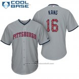 Maglia Baseball Uomo Pittsburgh Pirates 2017 Stelle e Strisce Jung Ho Kang Grigio Cool Base
