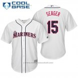 Maglia Baseball Uomo Seattle Mariners 2017 Stelle e Strisce Kyle Seager Bianco Cool Base