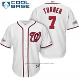 Maglia Baseball Uomo Washington Nationals 2017 Postseason Trea Turner Bianco Cool Base