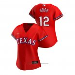 Maglia Baseball Donna Texas Rangers Rougned Odor 2020 Replica Alternato Rosso