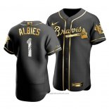 Maglia Baseball Uomo Atlanta Braves Ozzie Albies Golden Edition Autentico Nero Or