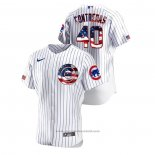 Maglia Baseball Uomo Chicago Cubs Willson Contreras 2020 Stars & Stripes 4th of July Bianco
