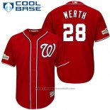 Maglia Baseball Uomo Washington Nationals 2017 Postseason Jayson Werth Rosso Cool Base