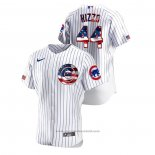 Maglia Baseball Uomo Chicago Cubs Anthony Rizzo 2020 Stars & Stripes 4th of July Bianco