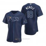 Maglia Baseball Uomo Tampa Bay Rays Joey Wendle Autentico Alternato 2020 Blu