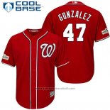 Maglia Baseball Uomo Washington Nationals 2017 Postseason Gio Gonzalez Rosso Cool Base