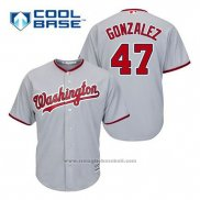 Maglia Baseball Uomo Washington Nationals Gio Gonzalez 47 Grigio Cool Base