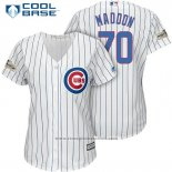 Maglia Baseball Donna Chicago Cubs 2017 Postseason 70 Joe Maddon Bianco Cool Base