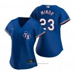Maglia Baseball Donna Texas Rangers Mike Minor Replica Alternato Blu