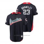 Maglia Baseball Uomo All Star Cleveland Indians Michael Brantley 2018 Home Run Derby American League Blu