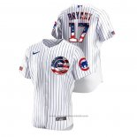 Maglia Baseball Uomo Chicago Cubs Kris Bryant 2020 Stars & Stripes 4th of July Bianco