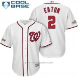 Maglia Baseball Uomo Washington Nationals 2017 Postseason Adam Eaton Bianco Cool Base