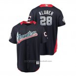 Maglia Baseball Uomo All Star Cleveland Indians Corey Kluber 2018 Home Run Derby American League Blu