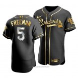 Maglia Baseball Uomo Atlanta Braves Freddie Freeman Golden Edition Autentico Nero Or