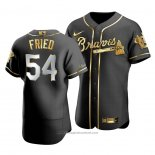 Maglia Baseball Uomo Atlanta Braves Max Fried Golden Edition Autentico Nero Or