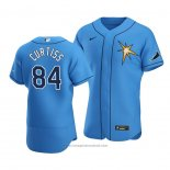 Maglia Baseball Uomo Tampa Bay Rays John Curtiss Alternato Autentico 2020 Blu2