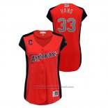 Maglia Baseball Donna Cleveland Indians 2019 All Star Workout American League Brad Hand Rosso