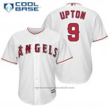 Maglia Baseball Uomo Los Angeles Angels 9 Justin Upton Bianco Home Giocatore Cool Base