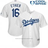 Maglia Baseball Uomo Los Angeles Dodgers Andre Ethier Bianco Cool Base