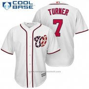 Maglia Baseball Uomo Washington Nationals 7 Trea Turner Bianco 2017 Cool Base