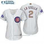Maglia Baseball Donna Chicago Cubs 2 Tommy La Stella Bianco Or Cool Base