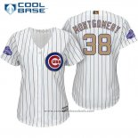 Maglia Baseball Donna Chicago Cubs 38 Mike Montgomery Bianco Or Cool Base