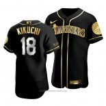 Maglia Baseball Uomo Seattle Mariners Yusei Kikuchi Golden Edition Autentico Nero