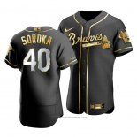 Maglia Baseball Uomo Atlanta Braves Mike Soroka Golden Edition Autentico Nero Or