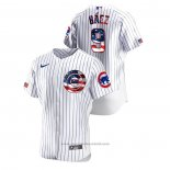 Maglia Baseball Uomo Chicago Cubs Javier Baez 2020 Stars & Stripes 4th of July Bianco