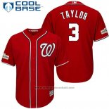 Maglia Baseball Uomo Washington Nationals 2017 Postseason Michael Taylor Rosso Cool Base