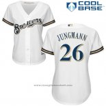 Maglia Baseball Donna Milwaukee Brewers Taylor Jungman Bianco Autentico Collection Cool Base