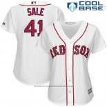 Maglia Baseball Donna Boston Red Sox 41 Chris Sale Bianco 2017 Cool Base