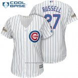 Maglia Baseball Donna Chicago Cubs 2017 Postseason 27 Addison Russell Bianco Cool Base