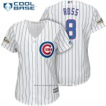 Maglia Baseball Donna Chicago Cubs 2017 Postseason 8 David Ross Bianco Cool Base