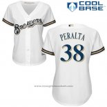 Maglia Baseball Donna Milwaukee Brewers Wily Peraltan Bianco Autentico Collection Cool Base