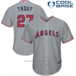 Maglia Baseball Uomo Los Angeles Angels 2017 Stelle e Strisce Mike Trout Grigio Cool Base
