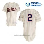 Maglia Baseball Uomo Minnesota Twins Brian Dozier 2 Crema Alternato Cool Base
